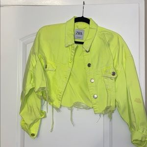 ZARA NEON CROP DENIM JACKET